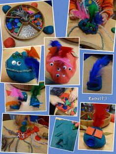 "Play dough monsters and other creatures - from Rachel ("",) Preschool Crafts, Diy Crafts For Kids, Art For Kids, Eyfs Activities, Activities For Kids, Big Green Monster, Play Doh Toys, Robot Monster, Creative Area"