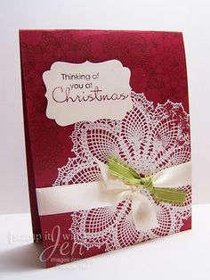 """doily w/pink paper (copied) then """"Mother's Day"""" sentiments (not Christmas)"""