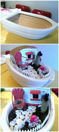 Container cactus garden.  Houseboat I made. Lol