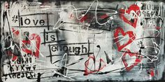 Original Modern Abstract HEART Painting  Contemporary Urban Graffiti Red Black and White 12x24 Love Is Enough on Etsy, $128.00