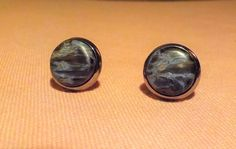 New ***.  Chatoyant Pietersite gemstone stud earrings.  10 mm diameter. Rhodium plated. by Grindingstone on Etsy