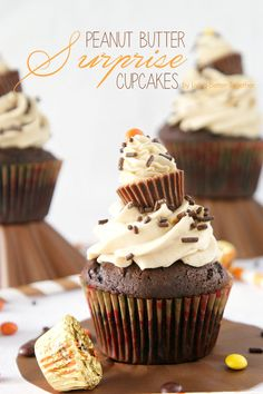 Looking for Fast & Easy Dessert Recipes! Find more recipes like Chocolate & Peanut Butter Surprise Cupcakes. Chocolate Cupcakes Filled, Chocolate Peanut Butter Cupcakes, Peanut Butter Recipes, Chocolate Desserts, Chocolate Sprinkles, Chocolate Cream, Chocolate Cupcakes Decoration, Decorate Cupcakes, Chocolate Malt