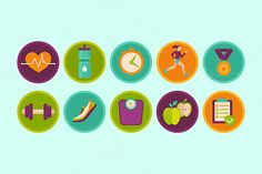 Fitness icons and badges by venimo on @creativemarket