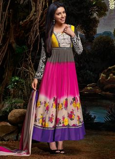 Multicolored Asin Georgette Ankle Length Anarkali