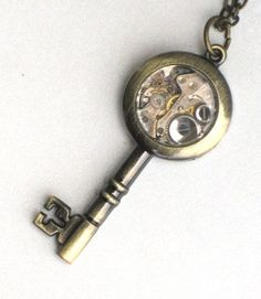 Steampunk - SKELETON KEY - Pendant Necklace - Jeweled Watch Movement - Antique Silver - Neo Victorian - By GlazedBlackCherry