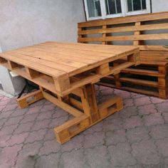 Wooden Pallet Beds, Pallet Crates, Wooden Pallet Projects, Pallet Bench, Tire Furniture, Diy Garden Furniture, Wood Pallet Furniture, Cool Furniture, Build A Picnic Table