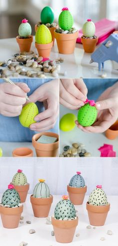 Paint eggs and set in terracotta pots for cactus Easter eggs  #eastercrafts #easter #eastereggs