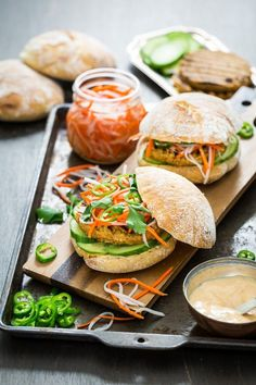 Lemongrass Tofu Banh Mi Burger with Sriracha Aioli -