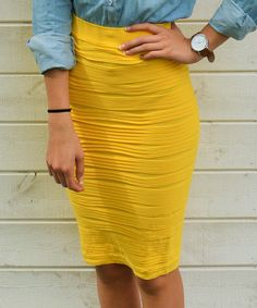 This Bella Mikol Designs Yellow Ruffle Pencil Skirt - Women by Bella Mikol Designs is perfect! #zulilyfinds