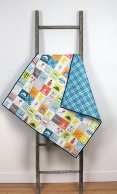 Baby quilt minnesota modern handmade by abbeyshousequilts on Etsy, $130.00