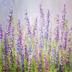 Lavender Field Acrylic Painting Tutorial on YouTube by Angela Anderson #purple #lavender #acrylicpaint #acryliconcanvas #tutorial
