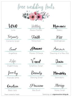Collection of personal, free wedding fonts, z. in calligraphic style - Tattoo Style Hand Lettering Fonts, Calligraphy Fonts, Typography, Lettering Styles, Lettering Tutorial, Free Wedding, Diy Wedding, Wedding Fonts Free, Handwriting Examples