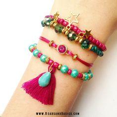 DIY Tutorial / Beads / Zelf sieraden maken / Armbandjes / Ketting / Kralen / roze en turkoois armbandjes