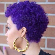 Pelo Natural, Natural Hair Care, Natural Hair Styles, Purple Natural Hair, Natural Beauty, Afro Hairstyles, American Hairstyles, Black Hairstyles, Hairstyles 2018