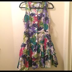 NWT Vintage Rampage Floral Ruffle Dress 100% cotton.  34 inch length shoulder to hem. 16 inch length armpit to armpit. Super cute!  Totally wish this fit me!! Vintage Dresses