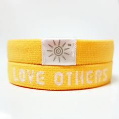 """""""Love God Love Others"""" - Yellow Bright Band: This stretchy wrist band is so comfortable and soft on the wrist, you don't even realize you are wearing it! Be reminded to shine your light bright for Christ every single day! www.brightbands.com"""