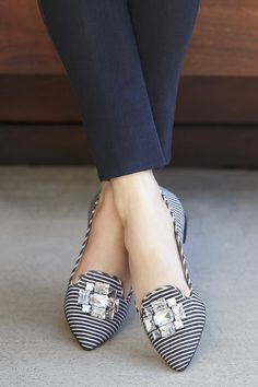 Bejeweled flats in black white stripe Sole Society Libry Cute Flats, Cute Shoes, Me Too Shoes, Pretty Shoes, Beautiful Shoes, Shoe Boots, Shoes Sandals, Shoes 2018, Mocassins