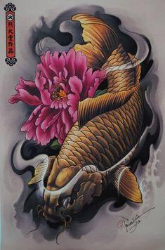 Fish koi Tattoo Design hate the angry fish but love the lotus Mais Bild Tattoos, Neue Tattoos, Body Art Tattoos, Sleeve Tattoos, Tatoos, Japanese Tattoo Designs, Japanese Tattoo Art, Japanese Art, Japanese Prints