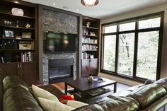 Contemporary Living Photos Stone Fireplace Design, Pictures, Remodel, Decor and Ideas