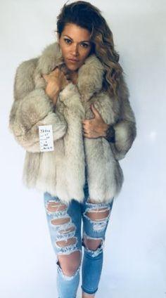 Mint Princesse Fox Fur Coat Jacket 8 Zorro Blanco 3980ae4707da