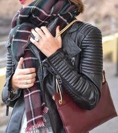 #fall #fashion / leather jacket + tartan scarf