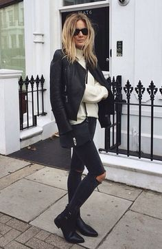Skinny Jeans and Leather Jacket | Street Style
