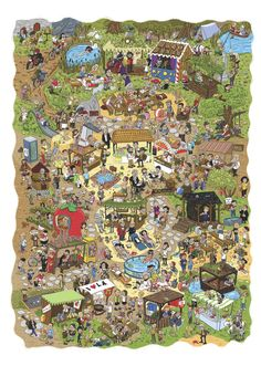 This amazing artists uses children to create pictures, these are excellent visual stimuli and can be used to talk about number, shape, pattern - how about recreating your own pictures like this? Small World Board Game, Craft From Waste Material, Wheres Wally, Map Projects, Picture Writing Prompts, Cartoon Art Styles, Create Picture, Puzzle Art, Hidden Pictures