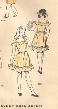 McCall 6893; ©1947; An off-shoulder sundress for little girls.  The bodice is dart-fitted, tightly, so that it needs no belt.  Lower ruffle is set on with a tiny heading.