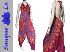 Mandala Haremshose weite Yoga Hose braun pink 34 36 38 40 S M L Boho Psy Hippie