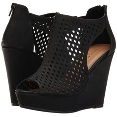 Chinese Laundry Indie (Black) Women's Wedge Shoes ($70) ❤ liked on Polyvore featuring shoes, sandals, platform shoes, chinese laundry sandals, wedge sandals, black peep toe sandals and black sandals