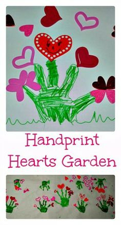 #Valentine Art: #Handprint hearts #garden #Valentinesartandcrafts #diy #craft #heart #keepsake #party #kids #preschool #prek #kindergarten #home