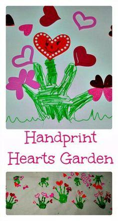 Valentine Art: Handprint hearts garden #Valentinesartandcrafts