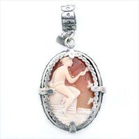 Gem Kingdom sterling silver pendant with a hand-carved cameo.