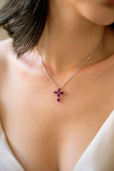Solid 18K Gold Cross Necklace With Genuine Rubies And Diamonds, Religious Necklace Cross, Christmas Gift , Diamond Cross, Ruby Cross Diamond Cross, Gold Cross, Sapphire Necklace, Gold Necklace, Eternity Ring, Natural Diamonds, Fashion Necklace, 18k Gold, Pregnancy