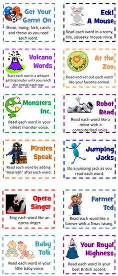 Fluency 1 - Work on expression and fluency by having the students read a paragraph after choosing one of these cards that gives them a different voice or action to do while reading. It keeps their attention while they're learning different ways to read. Or you can use this to help kids remember the spelling for sight words