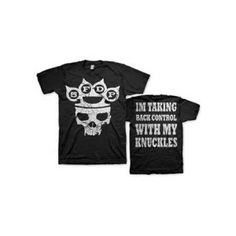 Five Finger Death Punch My Knuckles Mens Tee - Take back control in this Five Finger Death Punch My Knuckles Mens T-Shirt, featuring brass knuckles and skull design on front and White Knuckles lyrics on the back.