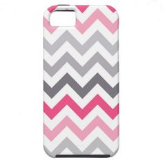 Modern and trendy iPhone 5 phone case features pastel pink, gray and white zigzag chevron stripe pattern. Cute and unique design and a perfect cool gift idea for her / him or anyone on any occasion