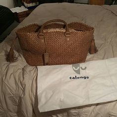 NWOT Calonge Italy Leather Weaved Tote Purse Big bag that carries a lot Original dustbag included Tan leather Authentic calonge Looks like a bottega The designer is the wife of the head designer for bottega calonge Bags Satchels