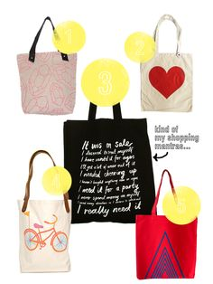 Graphic canvas tote bags
