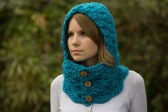 Cowl with Hood, Teal Scoodie, Blue Neckwarmer with Buttons, Crochet Hooded Cowl from WellRavelled on Etsy. Saved to Etsy Finds.
