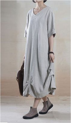 Casual Linen Dress in Gray