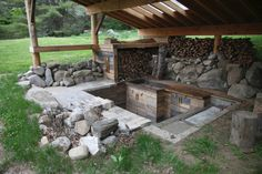 Partially-buried outdoor kitchen in Corinth, Vermont. Built by Corin Hewitt. Contributed by Andreas Kohl.