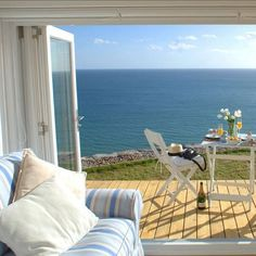 A sunny dining deck with endless sea views.