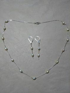 Juego en plata con perlas cultivadas