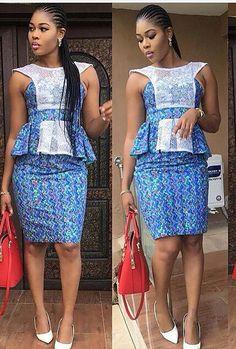 Top Ten Hot Nigerian Ankara Skirt And Blouse Styles Dabonke African Dresses For Women, African Attire, African Wear, African Fashion Dresses, African Women, Ghanaian Fashion, African Clothes, Ankara Gowns, Ankara Dress