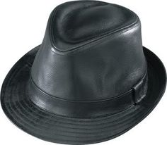 X-Large Black Genuine Smooth Leather Fedora Hat *** More info could be found at the image url.