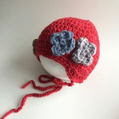 Red Baby Crochet Hat - Red 3-6 Month Old Hat - Baby Girl Red Hat...