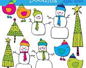COMBO PACK snowmen digital clipart and black line stamps