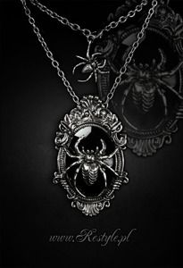 """pendant and brooch in one """"ARANEA"""" Black Spider necklace"""