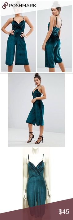 """NWT Missguided 4 Green Velvet Culotte Jumpsuit Brand new with tags bottle green trim detail velvet culotte jumpsuit by Missguided from ASOS. UK size 8 which is US size 4. 97% polyester/3% elastane. Faux wrap bust with gold bar detailing on spaghetti straps. Straps are not adjustable but placement of gold is. Culotte legs with a 17"""" inseam. Asos Pants Jumpsuits & Rompers"""